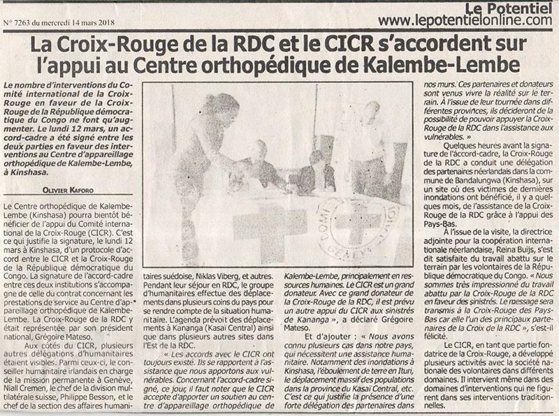 La Croix-Rouge de la RDC et le CICR s'accordent sur l'appui au Centre orthopédique de Kalembe-Lembe