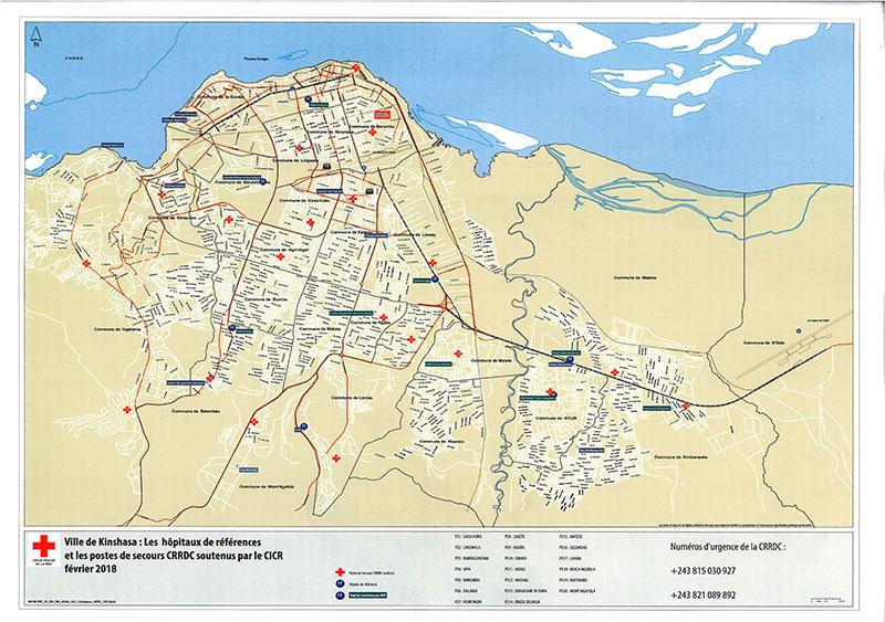 Carte d'identification des postes de secours de la Croix-Rouge et Hôpitaux de transfert dans le cadre de Secours et Assistance aux populations dans la Ville de Kinshasa.